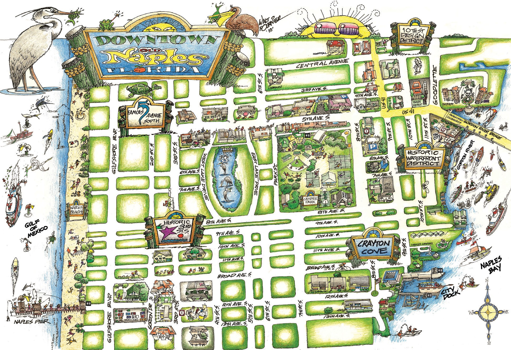 Map Of Naples Florida.New Map Points The Way For Walking Around Naples Naples Florida Weekly