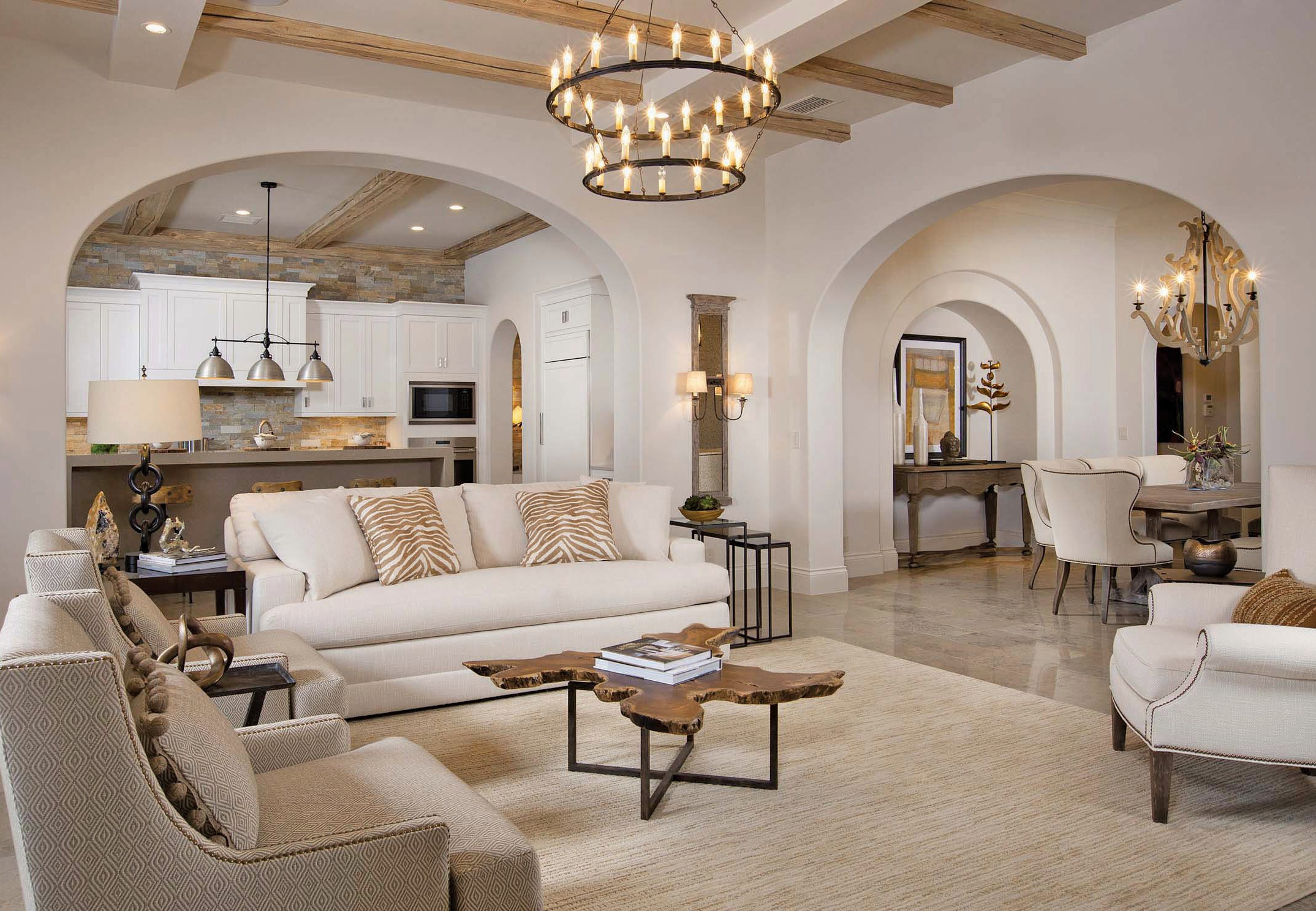 Above: Featuring Interiors By Romanza Interior Design, The Belita Showcases  Beamed Ceilings Throughout The